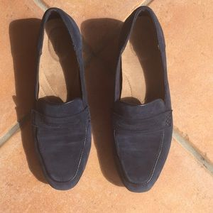 Navy Blue Brushed Suede Clarks Artisan Loafers